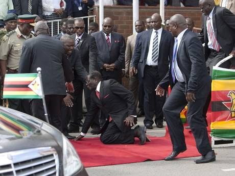 Robert Mugabe fell on his return from an African Union meeting in Ethiopia (AP Photo)
