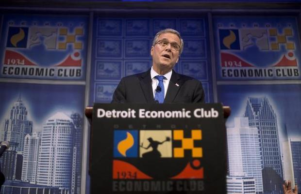 Former Florida Gov. Jeb Bush speaks at a Economic Club of Detroit meeting in Detroit Wednesday, Feb. 4, 2015. (AP Photo/Paul Sancya)