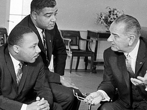 President Lyndon Johnson (right), Martin Luther King (right) and Whitney Young (AP Photo)