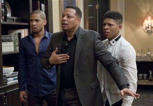 "This photo provided by Fox shows, from left, Jussie Smollet as Jamal, Terrence Howard as Lucious, and Bryshere Gray as Hakeem, in a scene from ""Sins of the Father"" episode of ""Empire,"" airing Wednesday, March 11, 2015 (9:01-10:00 p.m. ET/PT) on Fox. (AP Photo/Fox, Chuck Hodes)"