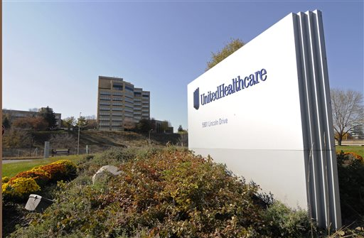 This Tuesday, Oct. 16, 2012, file photo, shows a portion of The UnitedHealth Group Inc.'s  campus in Minnetonka, Minn. The nation's largest health insurer, UnitedHealth, is staking a bigger claim in pharmacy benefits management with a plan to buy Catamaran Corp., for more than $12 billion in cash, the company announced, Monday, March 30, 2015. (AP Photo/Jim Mone, File)