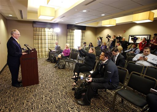 Attorney Stephen Jones, left, talks with reporters following a news conference in Oklahoma City, Friday, March, 13 2015. Jones confirmed Friday he was hired to ensure that the due process rights of members of Oklahoma University's Sigma Alpha Epsilon chapter are protected from actions by the university and national chapter, after videos surfaced of fraternity members singing a racist chant aboard a bus on Saturday. (AP Photo/The Oklahoman, Steve Gooch)  LOCAL STATIONS OUT (KFOR, KOCO, KWTV, KOKH, KAUT OUT); LOCAL WEBSITES OUT; LOCAL PRINT OUT (EDMOND SUN OUT, OKLAHOMA GAZETTE OUT) TABLOIDS OUT