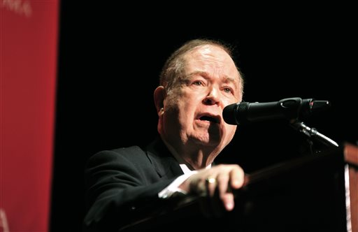 University of Oklahoma President David Boren speaks during a news conference, addressing racism on campus on Monday, March. 9, 2015 in Norman, Okla.  Boren  lambasted members of Sigma Alpha Epsilon, a fraternity who participated in a racist chant caught on video and ordered that they vacate their house by Tuesday night. (AP Photo/Nick Oxford)