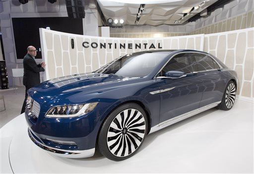 A Lincoln Continental concept car is shown at the New York International Auto Show, Monday, March 30, 2015, in New York. Thirteen years after the last Continental rolled off the assembly line, Ford Motor Co. is resurrecting its storied nameplate. The production version of the full-size sedan goes on sale next year. (AP Photo/Mark Lennihan)
