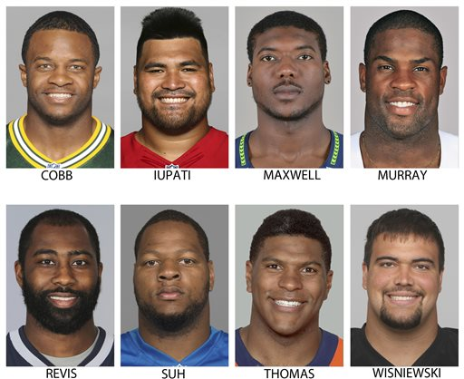 These are 2014, file photos showing NFL football players Randall Cobb, Mike Iupati, Byron Maxwell, DeMarco Murray, Darrelle Revis, Ndamukong Suh, Julius Thomas and Stefen Wisniewski. NFL free agency begins Tuesday, March 10, 2015. (AP Photo/File)