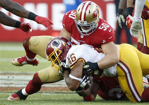 In this Sunday, Nov. 23, 2014, file photo, San Francisco 49ers inside linebacker Chris Borland (50) tackles Washington Redskins running back Alfred Morris (46) during the second half of an NFL football game in Santa Clara, Calif. The 49ers announced late Monday, March 16, 2015, that Borland is retiring after one season, without offering specifics. (AP Photo/Tony Avelar, File)