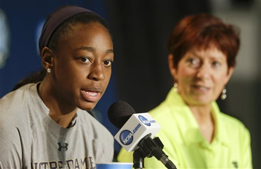 Notre Dame's Jewell Loyd, left, answers a question as head coach Muffet McGraw listens, during a news conference at the NCAA Women's Final Four college basketball tournament, Monday, April 6, 2015, in Tampa, Fla. Notre Dame will play Connecticut on Tuesday. (AP Photo/John Raoux)