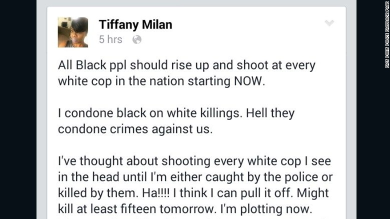 Police say Ebony Dickens made this Facebook post under the name Tiffany Milan (Courtesy of Facebook)