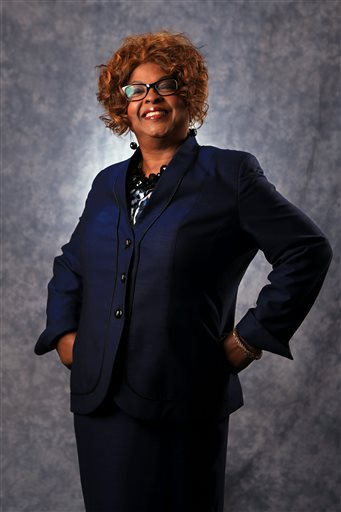 In this photo made in March 2015, Ferguson Ward 1 city council candidate Ella Jones poses for a portrait in Ferguson, Mo. The city is preparing for an election on Tuesday when three of six city council seats will be decided. (AP Photo/St. Louis Post-Dispatch, Christian Gooden)