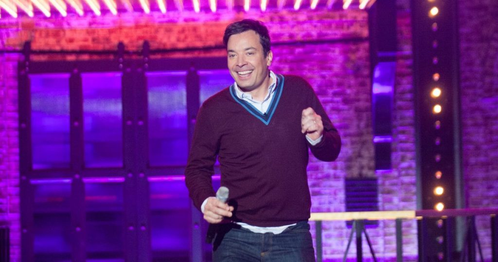 "In this Jan. 18, 2015 file photo, Jimmy Fallon appears on the set of ""Lip Sync Battle,"" airing Thursdays at 10 p.m. EST on Spike TV. (AP Photo/Spike TV, Scott Gries)"
