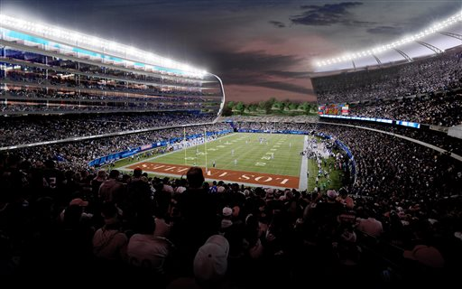 FILE - This undated artist rendering provided by MANICA Architecture shows an artist's rendering of a newly proposed NFL stadium in the city of Carson, Calif. The Los Angeles suburb of Carson could approve a $1.7 billion NFL stadium Tuesday, April 21, 2015, in the wake of a similar vote in nearby Inglewood, even though many details haven't been worked out and funding is uncertain. (MANICA Architecture via AP, File)