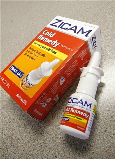 This June 16, 2009 file photo shows Zicam Cold Remedy nasal gel in Boston.  A top federal drug regulator says that increased safety problems with homeopathic remedies contributed to the government's decision to revisit its oversight of the products at a public hearing this week. The Food and Drug Administration on Tuesday, April 21, 2015,  wrapped up a two-day meeting to hear from supporters and critics of products like Zicam Allergy Relief and Cold-Eeze, alternative remedies that are protected by federal law, but not accepted by mainstream medicine. (AP Photo/Eric Shelton)