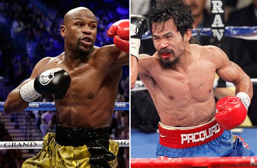 At left, in a May 4, 2013, file photo, Floyd Mayweather Jr. exchanges punches with Robert Guerrero (not shown) in a WBC welterweight title fight in Las Vegas. At right, in a Nov. 12, 2011, file photo, Manny Pacquiao exchanges punches with  Juan Manuel Marquez (not shown) during a WBO welterweight title fight in Las Vegas. Don't expect to snag a $1,500 nosebleed ticket _ or any other ticket _ at the box office for the fight between Floyd Mayweather Jr. and Manny Pacquiao. Just two weeks before the bout, tickets for the most anticipated fight in recent times have yet to go on public sale, with the two camps and the MGM Grand locked in a standoff over allotments. (AP Photo/Isaac Brekken, File)