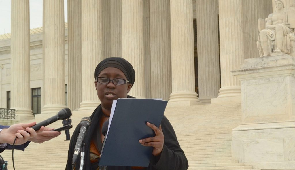 Jacqui Patterson, director of the NAACP Environmental and Climate Justice Program, speaks to press outside the Supreme Court. (Jazelle Hunt/NNPA News Wire Service)