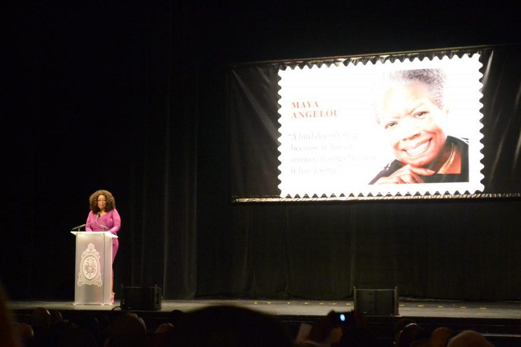 Oprah Winfrey speaks during the Maya Angelou commemorative stamp unveiling ceremony in Washington, D.C. (Jazelle Hunt/NNPA)