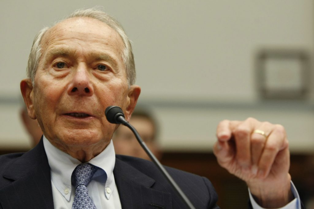 Former AIG head Hank Greenberg testifies on Capitol Hill in Washington, Thursday, April 2, 2009, before the House Oversight Committee. (AP Photo/Gerald Herbert)