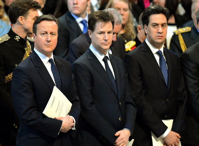 Britain's Prime Minister David Cameron, left, Deputy Prime Minister Nick Clegg, center, and Labour party leader Ed Miliband attend the Service of Commemoration – Afghanistan, at St Paul's Cathedral in London, Friday, March 13, 2015. The Queen and Britain's prime minister are joining veterans in a service to commemorate the end of Britain's combat operations in Afghanistan. Almost 150,000 Britons served in the conflict, and 453 died. (AP Photo/John Stillwell, Pool)