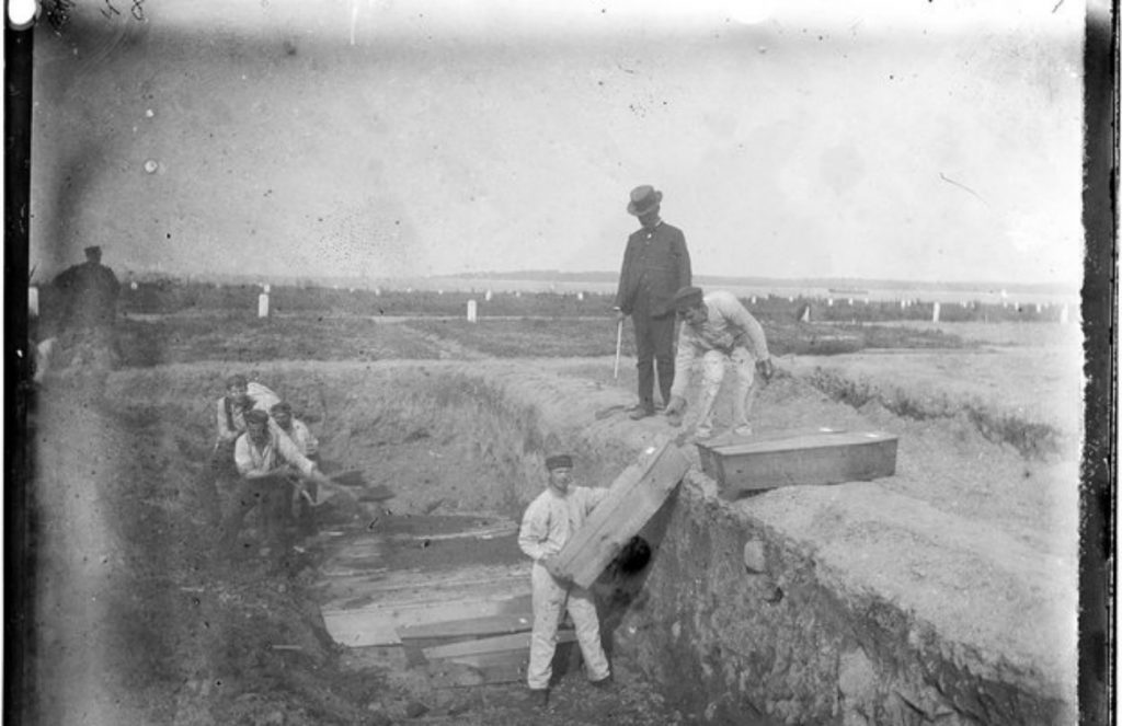 A trench at the potter's field on Hart Island, circa 1890 (Jacob Riis/Museum of the City of New York)