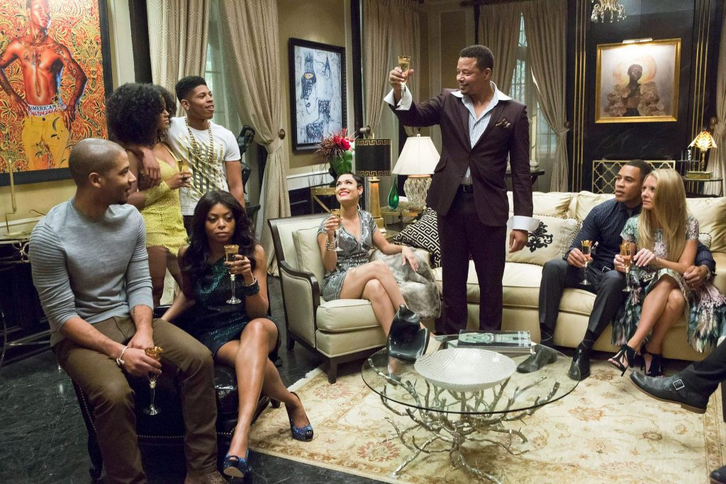 "Lucious (Terrence Howard, third from right) toasts his family in the ""Devil Quotes Scripture"" episode of ""Empire"" on Fox. (Chuck Hodes/Fox)"