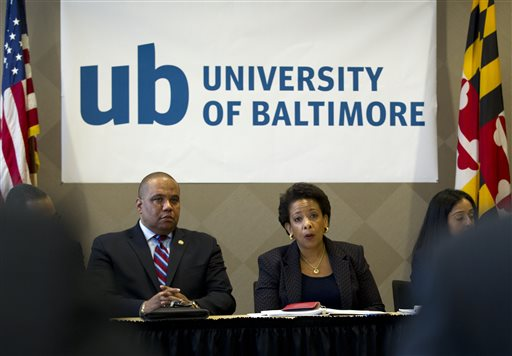 Attorney General Loretta Lynch speaks with members of Congress and faith leaders at the University of Baltimore on Tuesday, May 5, 2015, in Baltimore.  Lynch met with the family of Freddie Gray in private earlier. The FBI and the Justice Department are investigating Gray's death for potential civil rights violations. (AP Photo/Jose Luis Magana, Pool)