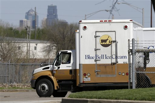 In this April 10, 2015 file photo, Blue Bell delivery trucks are parked at the creamery's location in Kansas City, Kansas. Blue Bell ice cream had evidence of listeria bacteria in its Oklahoma manufacturing plant as far back as March 2013, a government investigation released Thursday says. The company then continued to ship ice cream produced in that plant after what the Food and Drug Administration says was inadequate cleaning. (AP Photo/Orlin Wagner, File)