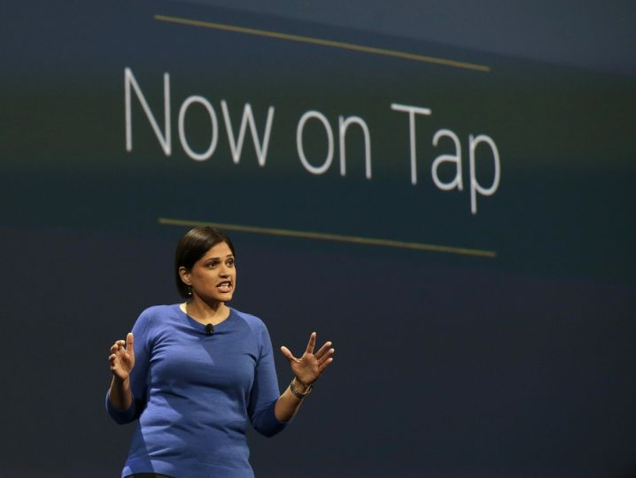 Aparna Chennapragada, director at Google Now, speaks during the Google I/O 2015 keynote presentation in San Francisco, Thursday, May 28, 2015. (AP Photo/Jeff Chiu)