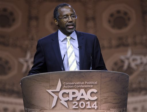 This March 8, 2014, file photo shows Dr. Ben Carson, professor emeritus at Johns Hopkins School of Medicine, speaking at the Conservative Political Action Conference annual meeting in National Harbor, Md. Carson, a retired neurosurgeon turned conservative political star, has confirmed that he will seek the Republican presidential nomination in 2016. Carson announced his candidacy during an interview aired Sunday, May 3, 2015, by Ohio's WKRC television station. (AP Photo/Susan Walsh, File)