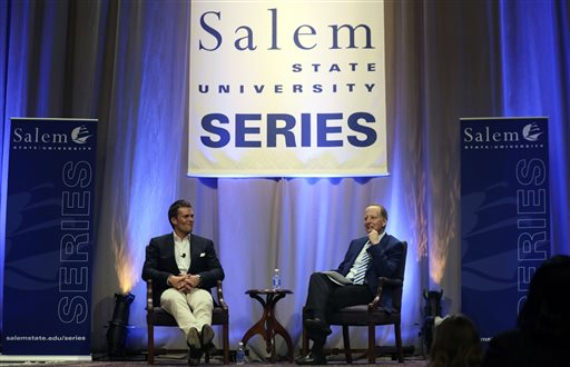 """New England Patriots quarterback Tom Brady, left, is interviewed by sportscaster Jim Gray during an event at Salem State University in Salem, Mass., Thursday, May 7, 2015. An NFL investigation has found that New England Patriots employees likely deflated footballs and that quarterback Tom Brady was """"at least generally aware"""" of the rules violations. The 243-page report released Wednesday, May 6, 2015, said league investigators found no evidence that coach Bill Belichick and team management knew of the practice. (AP Photo/Charles Krupa,Pool)"""