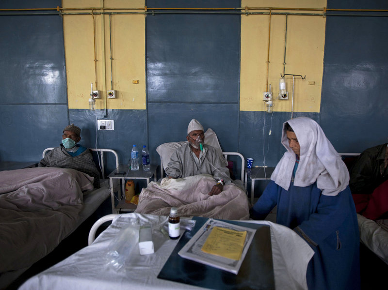 Patients receive treatment at the Chest Disease Hospital in Srinagar, India. The country has one of the highest rates of drug-resistant tuberculosis in the world, in part because antibiotics for the disease are poorly regulated by the government. (Dar Yasin/AP Photo)