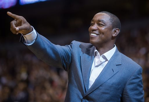 In this Nov. 9, 2009, file photo, Florida International coach Isiah Thomas directs his team during the first half of an NCAA college basketball game against North Carolina in Chapel Hill, N.C. Madison Square Garden chairman James Dolan has rehired Isiah Thomas _ this time to run the WNBA's New York Liberty. The Liberty said Tuesday, May 5, 2015,  that Thomas will serve as team president with responsibility for basketball and business operations. He has also taken an ownership interest in the team. (AP Photo/Gerry Broome, File)
