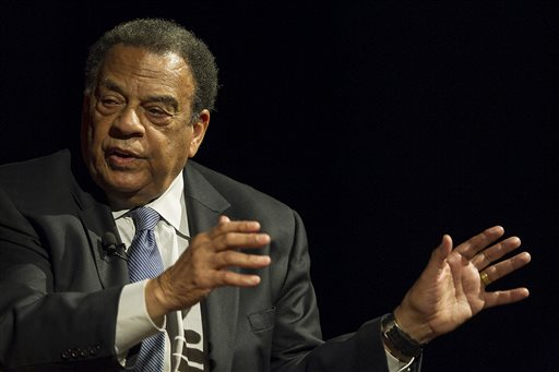 In this April 9, 2014, file photo, Andrew Young, former Congressman and United Nations Ambassador,  speaks during the discussion panel, LBJ and MLK:Fulfilling a Promise, Realizing a Dream, held at the the Civil Rights Summit at the Lyndon Baines Johnson Library and Museum in Austin, Texas. Young was taken to a hospital Monday, May 11, 2015, as a precaution after a cement truck overturned on a car he was riding in, authorities said. (Rodolfo Gonzalez/Austin American-Statesman via AP, Pool, File)