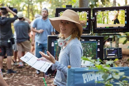 "This photo released by Universal Pictures shows director/producer Elizabeth Banks on the set of ""Pitch Perfect 2."" (Richard Cartwright/Universal Pictures via AP)"
