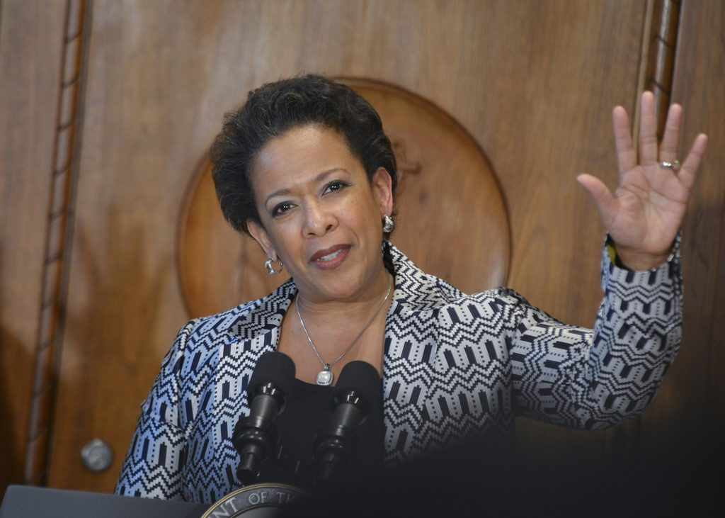 Attorney General Loretta Lynch speaks during her swearing-in ceremony at the Justice Department. (Freddie Allen/NNPA News Wire)