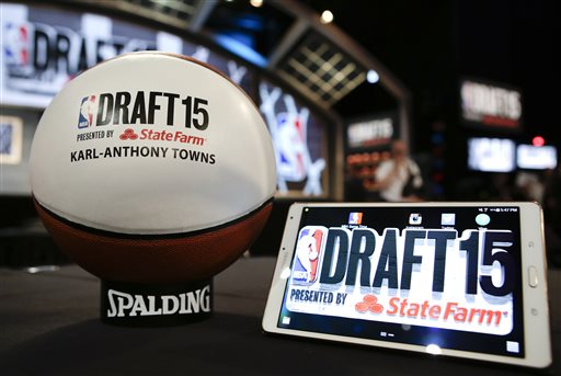 A basketball with the name of Karl-Anthony Towns' name on it sits on a table reserved for him before the NBA basketball draft, Thursday, June 25, 2015, in New York. (AP Photo/Kathy Willens)