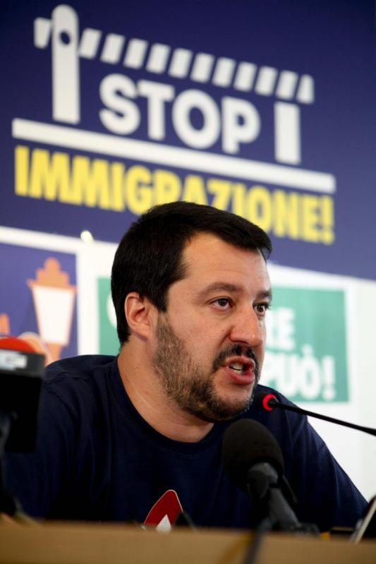 Northern League's party leader Matteo Salvini meets the media during a news conference in Milan, Italy, Monday, June 1, 2015. Italian Premier Matteo Renzi's Democratic Party claimed victory Monday in five of seven regions that voted for new leaders, but the real winner was the anti-Europe and once-regional Northern League that showed strong gains nationally. (Mourad Balti/ANSA via AP)