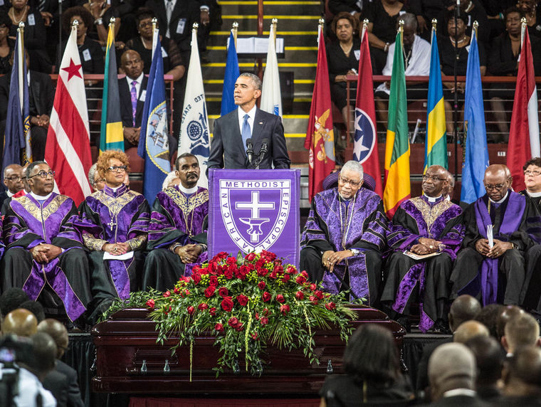 President Obama eulogizes Rev. Clementa Pinckney Friday at TD arena in Charleston, South Carolina. Pinckney and eight members of the historic Emanuel AME church were tragically killed in a mass shooting last Wednesday. (Lawrence Bryant/St. Louis American)