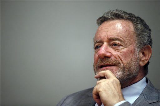 Jarl Mohn, president of National Public Radio, speaks during a interview with The Associated Press, Tuesday, June 9, 2015 in Washington. After years of leadership changes and funding deficits, NPR's new president and CEO says the public radio network has turned a corner and is positioning itself to grow its already sizable audience and funding.  (AP Photo/Alex Brandon)