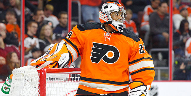 Ray Emery as goalie for the Philadelphia Flyers. He now plays for the Chicago Blackhaws. (Chris Szagola/AP Photo)