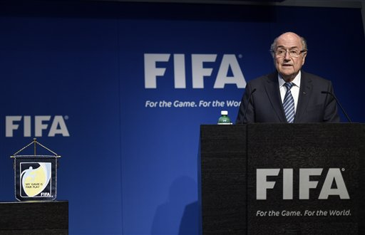 FIFA President Sepp Blatter speaks during a press conference at the FIFA headquarters in Zurich, Switzerland, Tuesday, June 2, 2015. FIFA President Sepp Blatter says he will resign from his position amid corruption scandal. (Ennio Leanza/Keystone via AP)