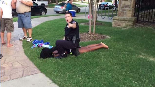 Video showed McKinney police Cpl. Eric Casebolt yank 15-year-old Dajerria Becton onto her stomach. (Courtesy of Brandon Brooks/YouTube)