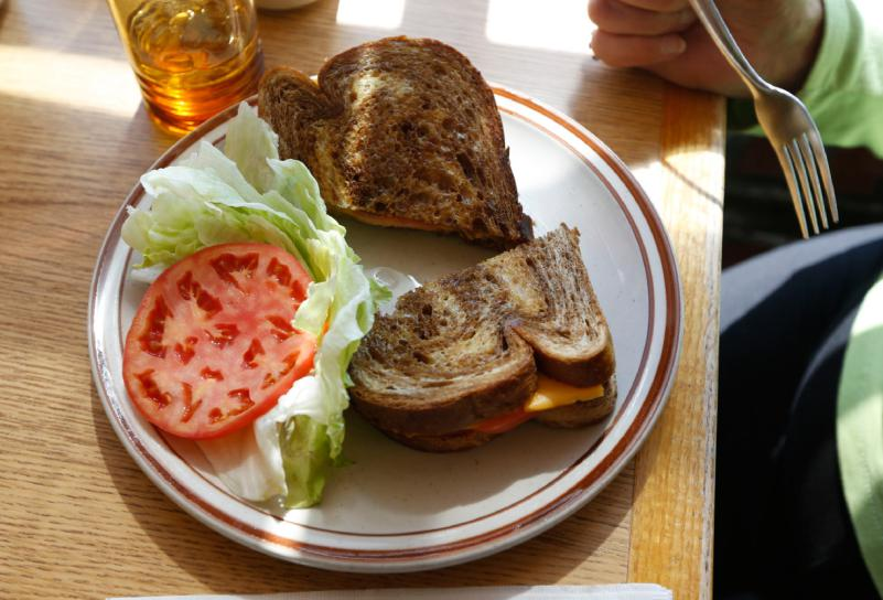 In this Thursday, April 16, 2015 photo, a grilled cheese sandwich is served at the Howard Johnson Restaurant in Bangor, Maine. (AP Photo/Robert F. Bukaty)