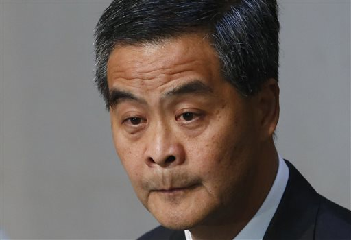 Hong Kong Chief Executive Leung Chun-ying attends a press conference in Hong Kong Thursday, June 18, 2015. The Hong Kong government's controversial Beijing-backed election blueprint was defeated in the legislature Thursday but the crucial vote came to a confusing anticlimax as pro-establishment lawmakers walked out just before it began. (AP Photo/Kin Cheung)