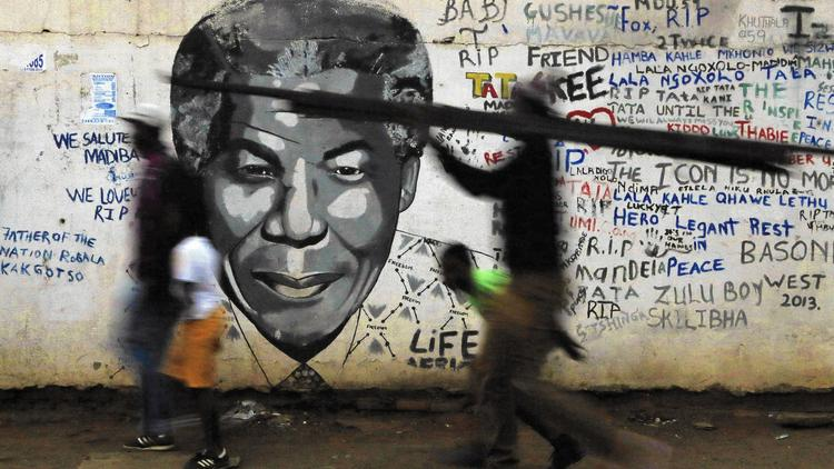 A Nelson Mandela mural in Katlehong, south of Johannesburg, South Africa.  (Themba Hadebe/AP Photo)