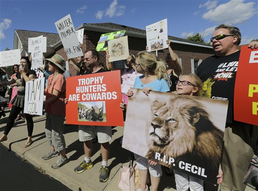 Protestors gather outside Dr. Walter James Palmer's dental office in Bloomington, Minn., Wednesday, July 29, 2015. Palmer reportedly paid $50,000 to track and kill Cecil, a black-maned lion, just outside Hwange National Park in Zimbabwe. (AP Photo/Ann Heisenfelt)