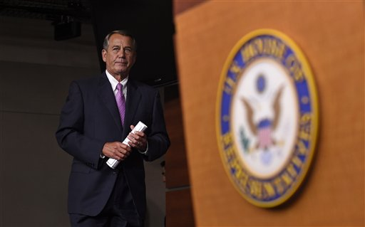 House Speaker John Boehner of Ohio arrives for a news conference on Capitol Hill in Washington, Wednesday, July 29, 2015. An effort by a conservative Republican to strip Boehner of his position as the top House leader is largely symbolic, but is a sign of discontent among the more conservative wing of the House GOP. On Tuesday, Rep. Mark Meadows of North Carolina, who was disciplined earlier this year by House leadership, filed a resolution to vacate the chair, an initial procedural step. (AP Photo/Susan Walsh)