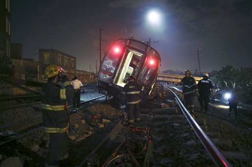 In this May 12, 2105 file photo, emergency personnel work the scene of a deadly train wreck in Philadelphia. An Amtrak train headed to New York City derailed and tipped in Philadelphia. Despite several years of horrific oil train wrecks and record car and truck recalls, congressional Republicans have decided that the auto and railroad industries suffer from too much safety regulation, not too little. (AP Photo/ Joseph Kaczmarek, File)