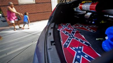 Photo of Confederate Flags Placed at Martin Luther King's Church