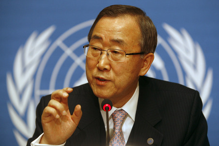 "U.N. Secretary-General Ban Ki-moon gestures during a press conference at the United Nations headquarters in Geneva, Switzerland Friday, Dec. 12, 2008. Ban says the latest ""very sobering"" assessment of the World Bank underscores the world's economic problems. The world should act with great urgency and compassion to ease economic distress. (AP Photo/Anja Niedringhaus)"