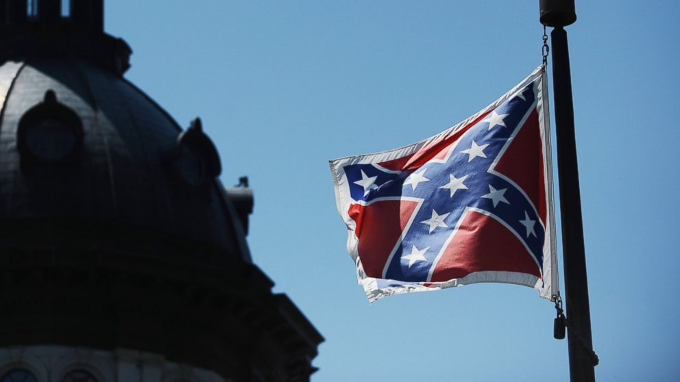 The Confederate flag flies near the South Carolina Statehouse, June 19, 2015 (AP Photo)