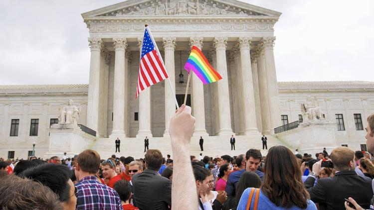 A celebration outside the Supreme Court in Washington after same-sex marriage was legalized. (Jacquelyn Martin/Associated Press)